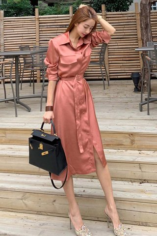 BACKORDER - Taneth Collar Sleeve Midi Dress In Rosy Pink