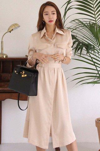 BACKORDER - Taneth Collar Sleeve Midi Dress In Cream