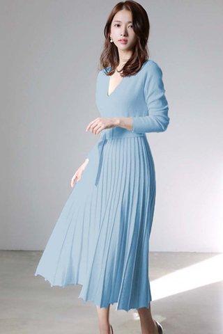 BACKORDER - Katie V-Neck Knit Pleated Dress In Sky Blue