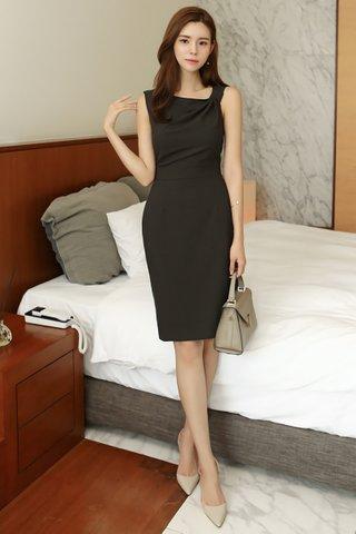 BACKORDER - Aliana Side Knot Midi Dress in Black