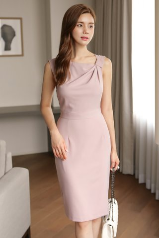 BACKORDER - Aliana Side Knot Midi Dress in Pink