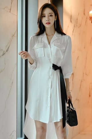 BACKORDER - Alyce Side Ribbon Tie Shirt Dress in White