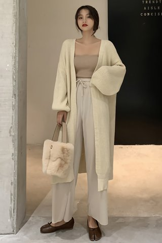 BACKORDER - Clemence Puff Sleeve Knit Outerwear in Cream