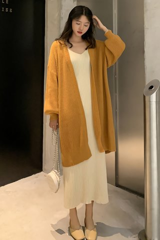 BACKORDER - Clemence Puff Sleeve Knit Outerwear in Mustard