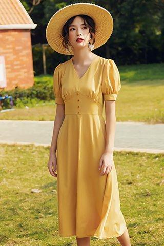 BACKORDER - Edwina V-Neck Puff Sleeve Dress