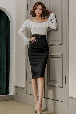 BACKORDER -  Hathaway Off Shoulder Top With Skirt Set