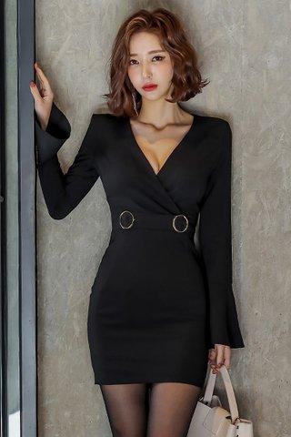 BACKORDER - Agnesa V-Neck Bell Sleeve Dress