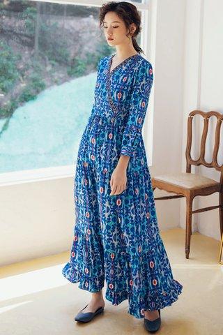 BACKORDER - Falyn Print Ruffle Hem Maxi Dress in Blue