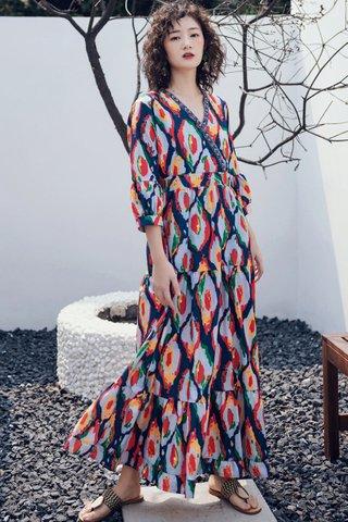 BACKORDER - Falyn Print Ruffle Hem Maxi Dress in Pale Grey