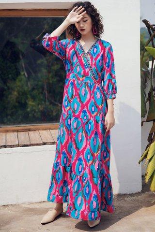BACKORDER - Falyn Print Ruffle Hem Maxi Dress in Pink