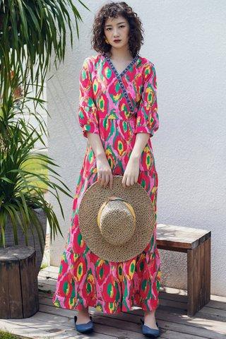 BACKORDER - Falyn Print Ruffle Hem Maxi Dress in Red