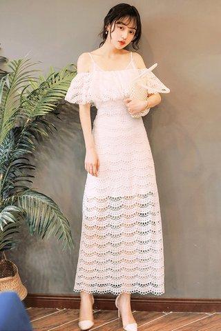 BACKORDER - Fete Cold Shoulder Crochet Maxi Dress