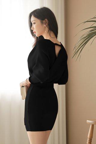 BACKORDER - Kristine Knit Sleeve Mini Dress in Black