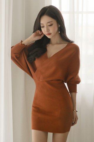 BACKORDER - Kristine Knit Sleeve Mini Dress in Maple