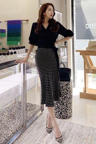 BACKORDER - Kryssa Sleeve Top With Polka Dot Skirt Set
