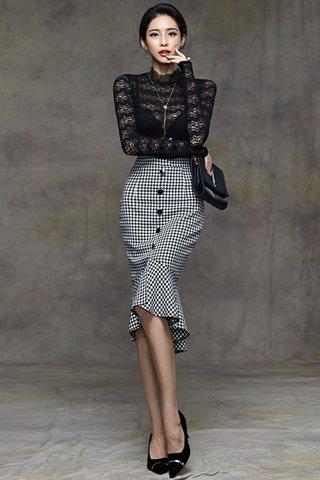 BACKORDER - Novea Lace Top With Plaid Skirt Set