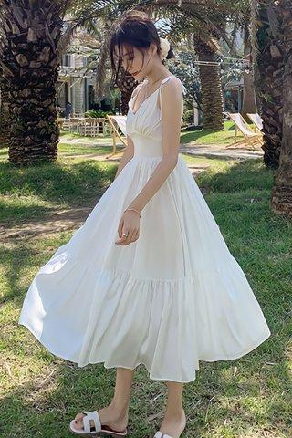 BACKORDER - Pelyssa Ruched Ruffle Dress