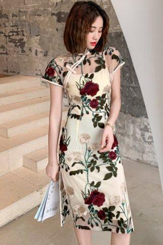 BACKORDER - Vivien Floral Embroidery Cheongsam Dress