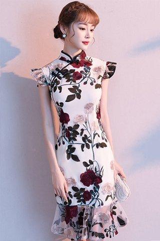 BACKORDER - Vivien Floral Embroidery Ruffle Hem Cheongsam Dress