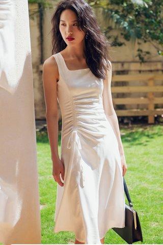 BACKORDER - Alersa Ruched Dress In White