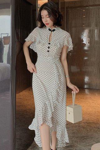 BACKORDER - Kolin Polka Dot Cape Ruffle Dress
