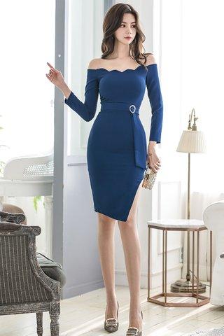 BACKORDER - Jalene Scallop Off Shoulder Side Slit Dress