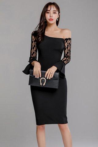 BACKORDER - Jayla One Shoulder Lace Sleeve Dress in Black
