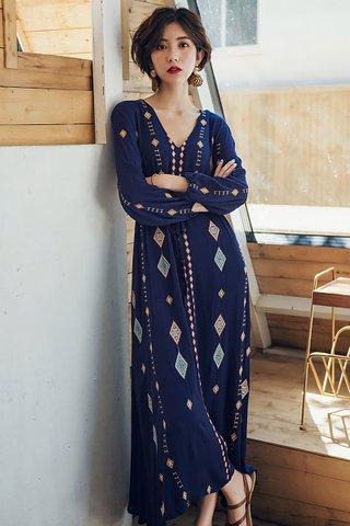 BACKORDER - Joette V-Neck Sleeve Maxi Dress in Blue