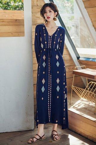 INSTOCK - Joette V-Neck Sleeve Maxi Dress in Blue