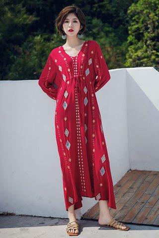 BACKORDER - Joette V-Neck Sleeve Maxi Dress in Red