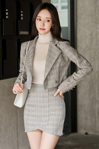 BACKORDER -  Juliette Plaid Outerwear with Skirt Set