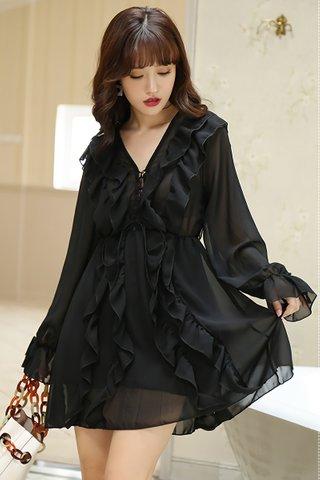 BACKORDER - Kamly Ruffle Mesh Overlay Dress in Black