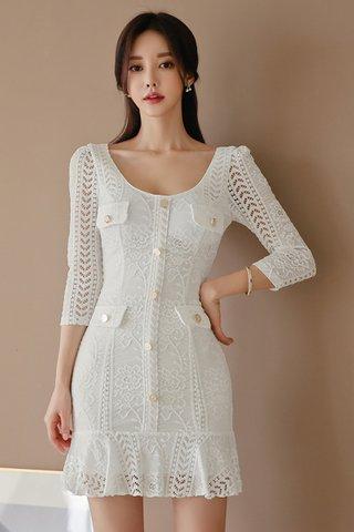 BACKORDER - Kesabell Sleeve Ruffle Hem Mini Dress