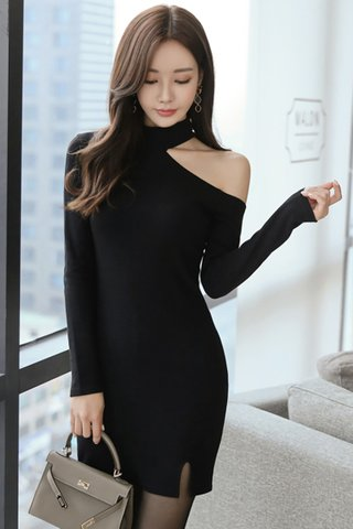 BACKORDER - Kserin One Shoulder Side Slit Dress