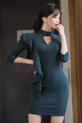 BACKORDER - Louisa Cascade Ruffle Keyhole Dress