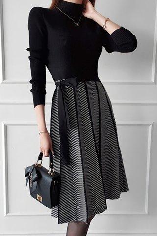 BACKORDER - Shelby Knit Pleated Side Tie Dress