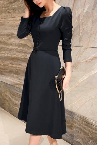 BACKORDER - Sienna Cutout A-line Midi Dress in Black