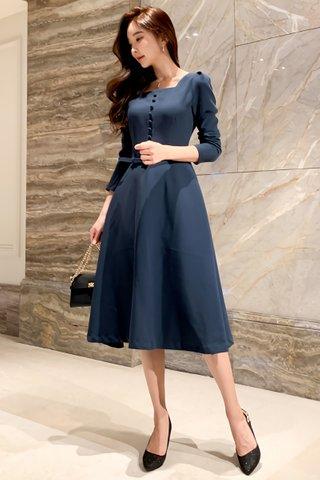 BACKORDER - Sienna Cutout A-line Midi Dress in Blue