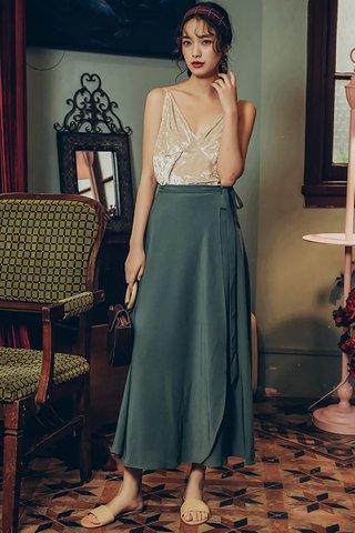 BACKORDER - Solange Side Ribbion Tie Skirt in Green