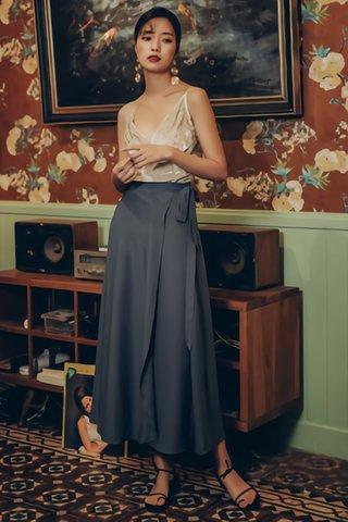 BACKORDER - Solange Side Ribbion Tie Skirt in Grey