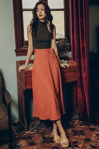 BACKORDER - Solange Side Ribbion Tie Skirt in Marmalade
