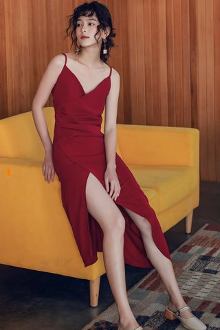 BACKORDER - Voldra V-Neck Asymmetrical Dress