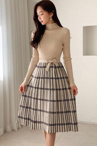 BACKORDER - Alisandra Sleeve Pleat Knit Dress In Brown