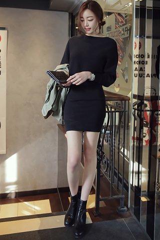 BACKORDER - Aubrey Sleeve Knit Dress in Black