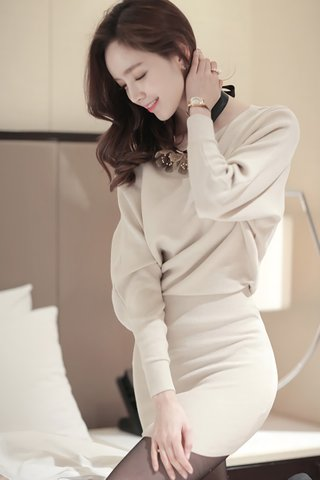 BACKORDER - Aubrey Sleeve Knit Dress in Cream