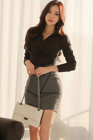 BACKORDER - Austina Collar Top With Skirt Set