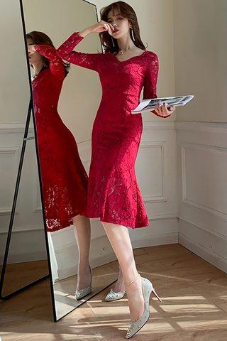 BACKORDER - Becca Floral Lace Ruffle Hem Dress