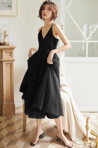 BACKORDER - Cecilia Mesh A-Line Dress in Black