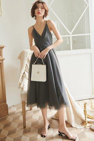 BACKORDER - Cecilia Mesh A-Line Dress in Grey