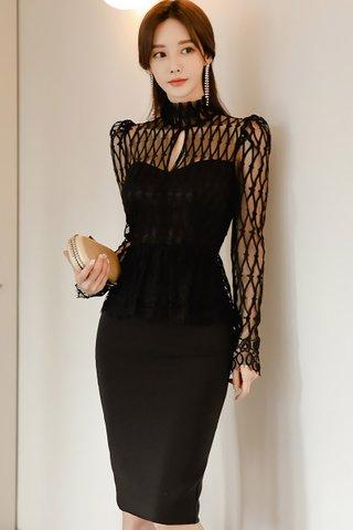 BACKORDER - Florentina Mesh Keyhole Overlay Dress in Black